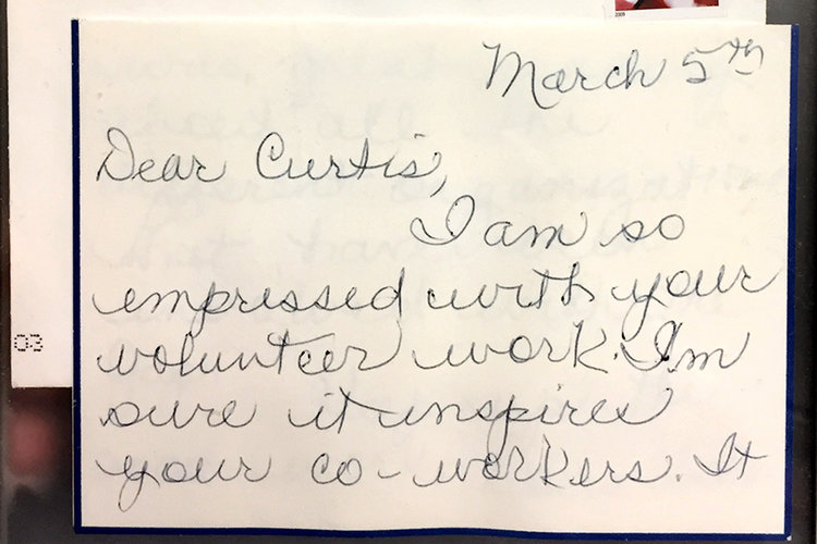 Handwritten note from Gap co-founder Doris Fisher to Curtis Pinkerton.