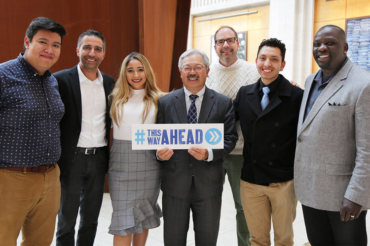 San Francisco Mayor Ed Lee poses with SVP of Global Sustainability and Gap Foundation President David Hayer, EVP of Talent & Sustainability Brent Hyder, SVP of Loss Prevention Keith White, and graduat